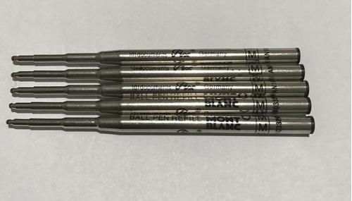 pack com 5 cargas mont blanc preta refil caneta ballpoint m