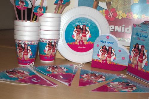 pack cotillón personalizado 20 partybox kit moana+souvenirs