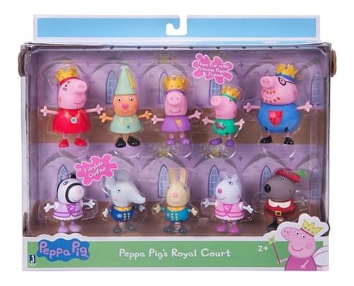 pack de 10 figuras corte real de princesa peppa pig y amigos