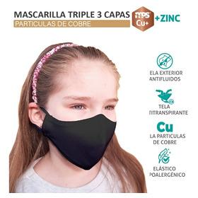 Pack De 10 Mascarillas Cobre Niño 3 Capa Antifluidos +zinc