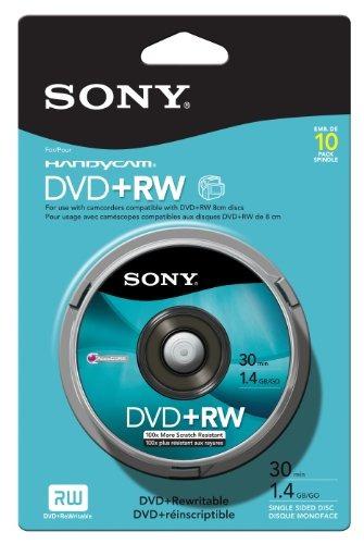 pack de 10 paquetes de 8cm dvd plus rw spindle skin de sony