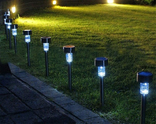 pack de 15 estaca farol de luz led c/panel solar recarbable