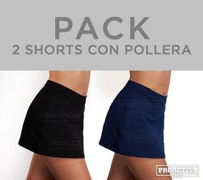 719a299a0 Pack De 2 Calzas Cortas Short Con Pollera Algodón Con Lycra