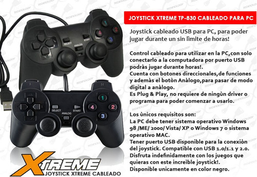 pack de 2 joystick para pc usb xtreme con análogo fifa pes ®
