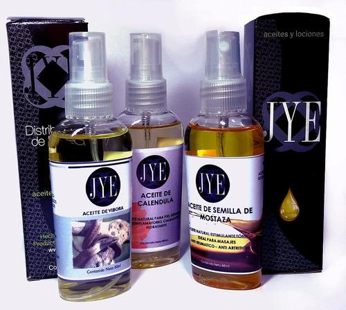 pack de 3 aceites jye para masajes dolores musculares