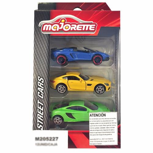 pack de 3 autos street cars majorette - oferta
