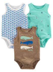 6b4a67561 Pack De 3 Body Pañalero Musculosa Carters Varón Algodón Bebé