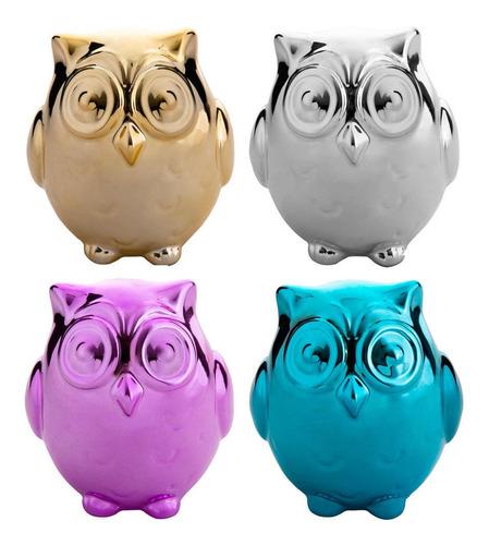 pack de 4 alcancías buho de cerámica multicolores