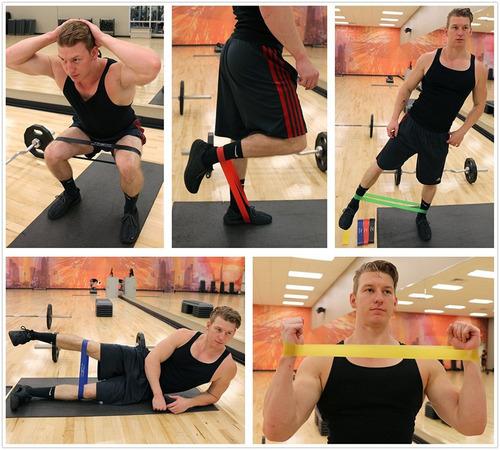 pack de 5 bandas elásticas de resistencia fitness yoga