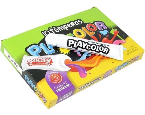 pack de 5 cajas témperas playcolor x 10 pomos 8 cc  surtidos