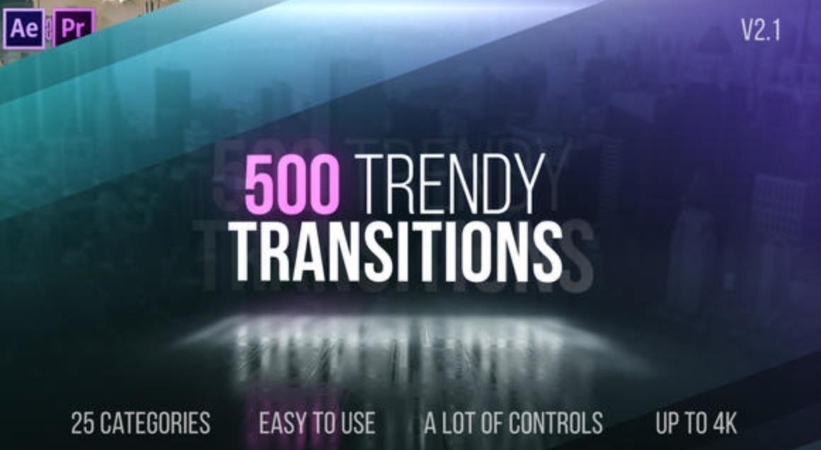 Pack De 500 Transiciones Trendy Proyecto After Effects