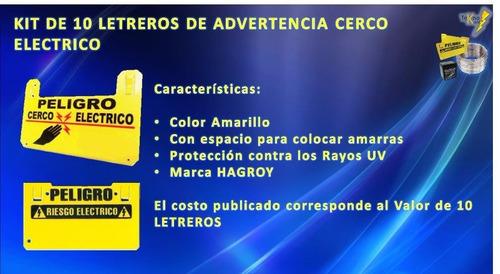 pack de letreros de advertencia cerco eléctrico 10 unidades
