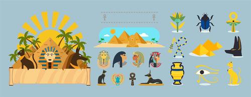 pack de vectores egipcios o budismo