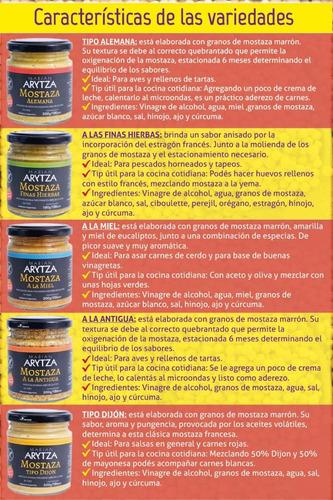 pack degustación x6  mostazas gourmet arytza .  nuevo!