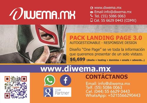 pack diseño landing page autogestionable responsive desing