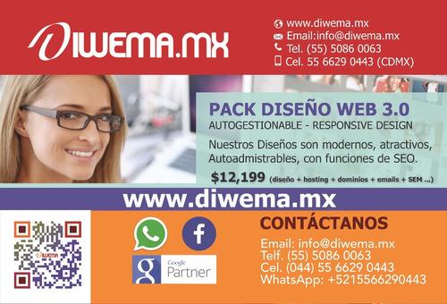 pack diseño pagina 3.0 web autogestionable responsive desing