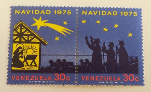 pack doble estampilla venezuela navidad 1975