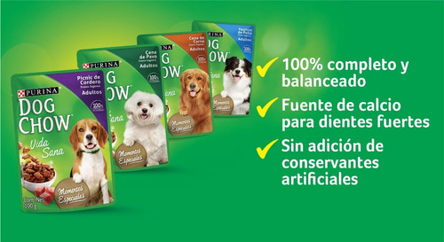 pack dog chow® adulto cena de pavo 100g