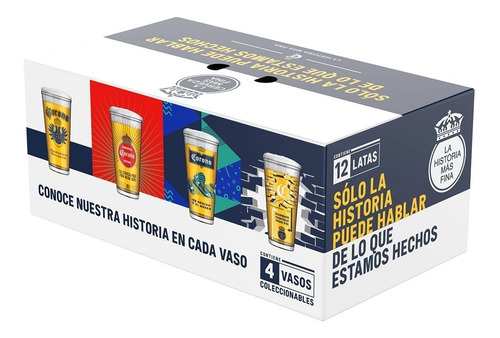 pack especial corona quality 12 latas de 355ml + 4 vasos