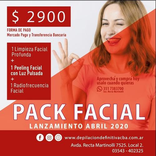 pack facial: peeling facial+ limpieza facial + rf facial