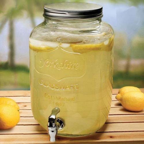 pack frasco dispenser canilla +4 frascos vidrio 8l bebidas