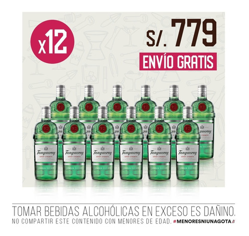 pack gin tanqueray london dry x 12 - 750 ml c/u