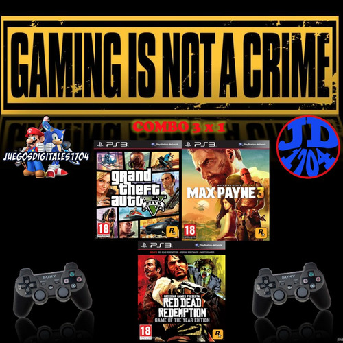 pack gta5+max payne 3 +red dead redemption juego digital ps3