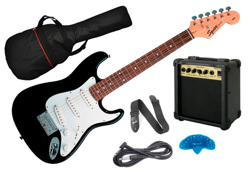 pack guitarra electrica fender squier stratocaster mini niño