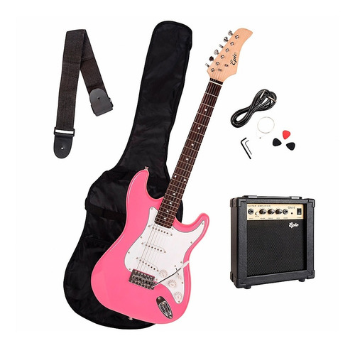 pack guitarra eléctrica pink+ acc. despacho gratis