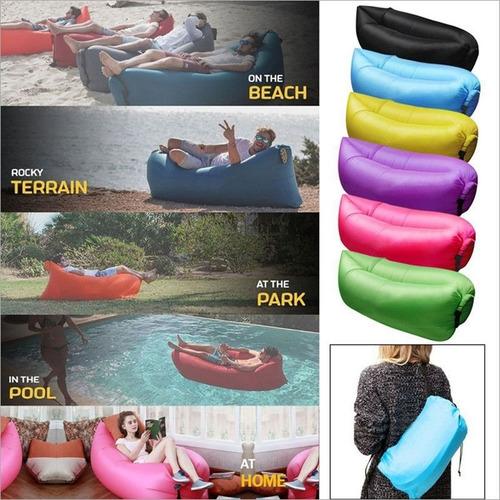 pack hamaca algodon premium 2 plazas + sofá sillón inflable