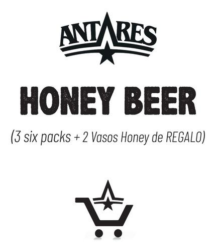 pack honey 18 latas 473ml + 2 vasos honey cerveza antares