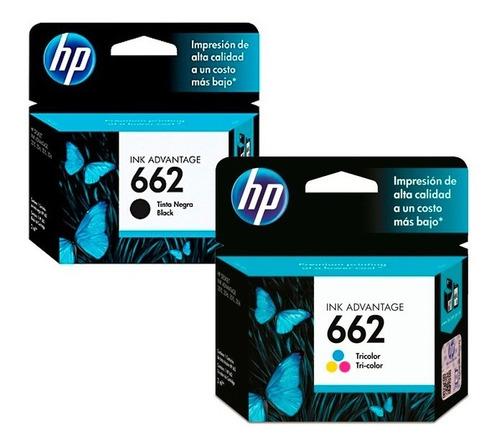 pack hp tinta 662 negra + tintas 662 tricolor