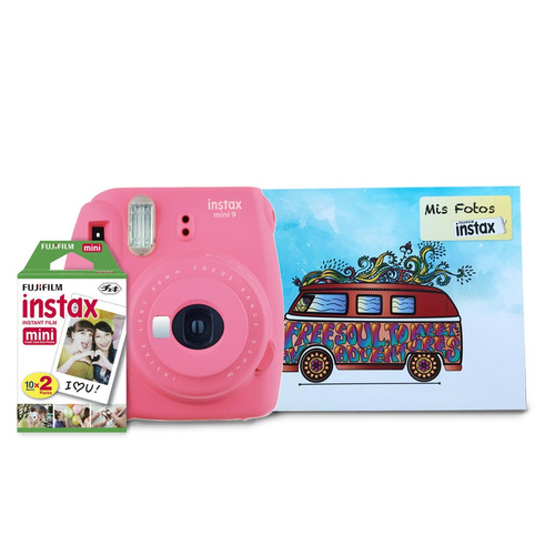 pack instax mini 9 rosa+ 20  films+ album | envío gratis