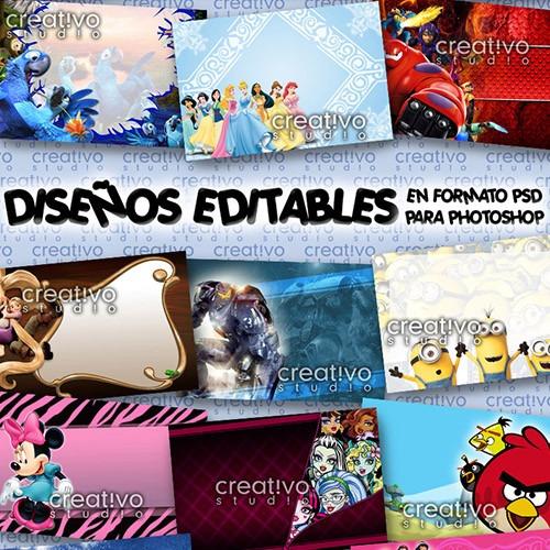 Pack Invitaciones Editables Fiestas Infantiles Psd Photoshop