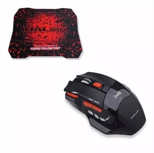 pack kit mouse gamer 7d snake + pad mouse gamer halion lince