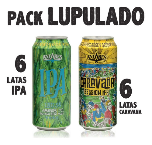 pack lupulado 6 ipa + 6 caravana lata 473ml cerveza antares