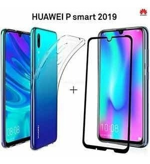 pack mica 5d full cover huawei p smart 2019+carcasa gel