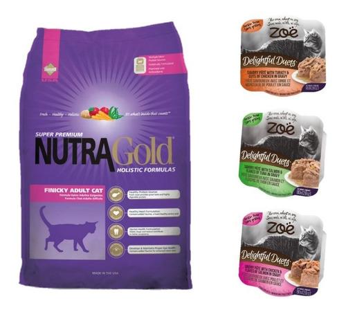 pack nutragold finicky adult gato 3 kg + 3 zoe envío gratis