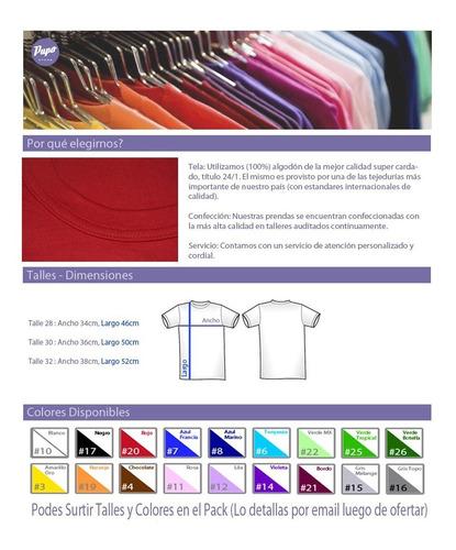 pack oferta x6 remeras lisas juveniles-100% algodón