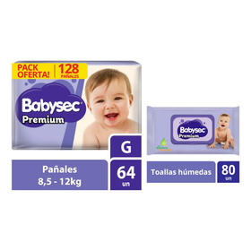 Pack Pañal Babysec Premiun G + Toallitas Húmedas