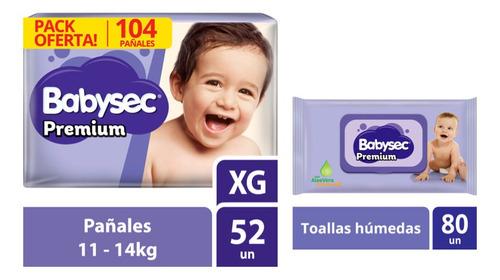 pack pañal babysec premiun xg + toallitas húmedas