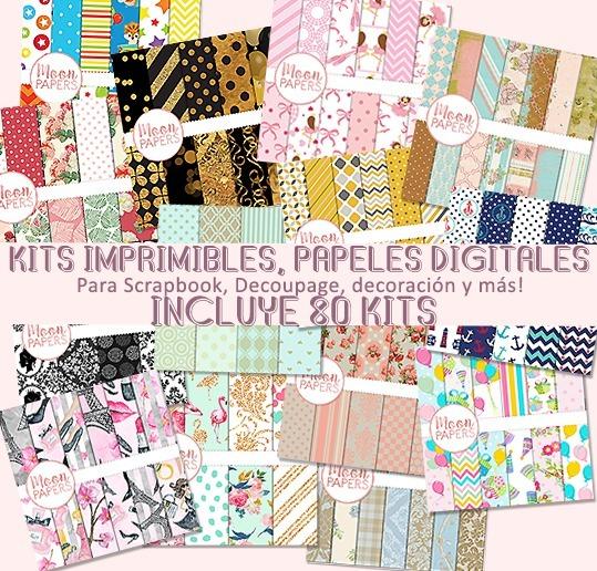 pack papeles digitales scrapbook decoupage kits variados 128 00