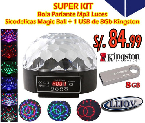 pack parlante mp3 con luces sicodelicas led + usb 8gb