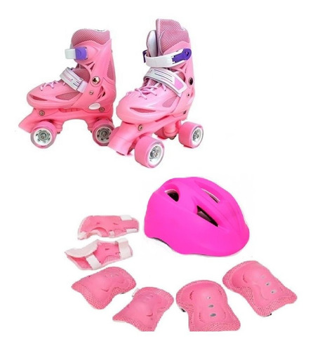 pack patin 25-28 xs + casco+ set proteccion(7pzs) + envio