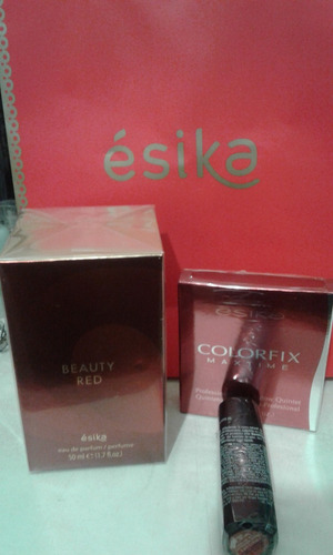pack perfume beauty red + cosmeticos esika l'bel, cy zone