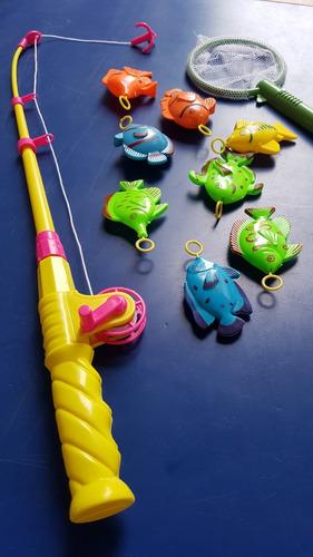 pack pesca milagrosa juego con 48 peces + 6cañas + 6 mallas