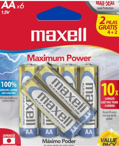 pack pilas baterias alcalina aa maxell 8+4 total 12 unidades