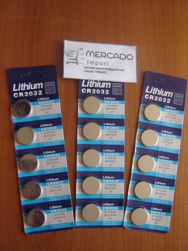 pack pilas cr 2032 lithium, de 3 volt. blíster de 5 unidades