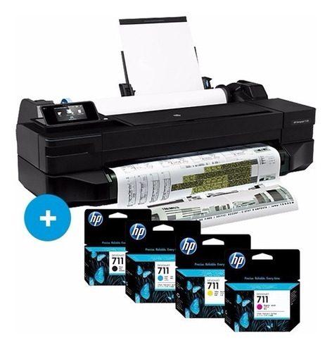pack plotter t120 24  +tintas 711 (negra 38ml) +rollo papel