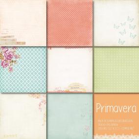 Pack Primavera 8 Papeles Decorativos Scrapbook Cuadernos